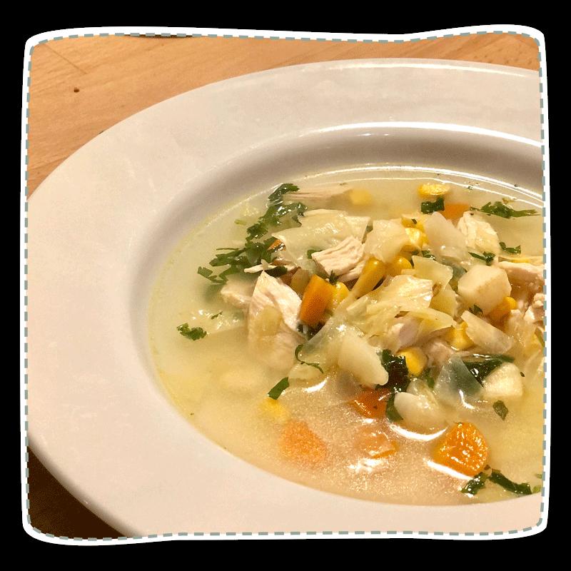 Schnelle Herbstsuppe mit Hähnchen oder Tofu